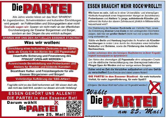 Programm der PARTEI in Essen